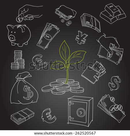 Money tree sprout and financial symbols vector sketch - stock vector