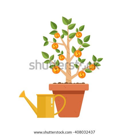 Money tree with watering can. Financial growth concept,Money growth, making money, investment, profit, financial management concept    - stock vector