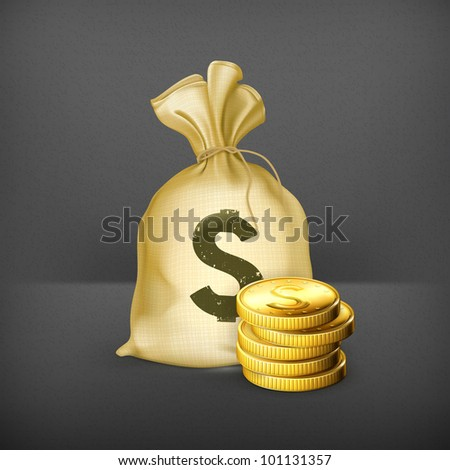 Moneybag and coins, 10eps - stock vector