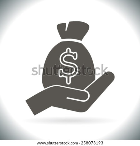 moneybag and hand - stock vector