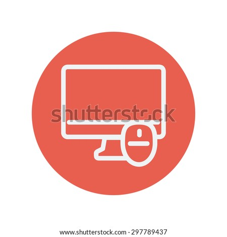 Monitor and computer mouse thin line icon for web and mobile minimalistic flat design. Vector white icon inside the red circle. - stock vector