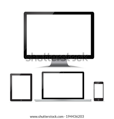 Monitor, computer, laptop, phone, tablet on a white background - stock vector