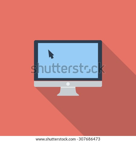 Monitor icon. Flat vector related icon with long shadow for web and mobile applications. It can be used as - logo, pictogram, icon, infographic element. Vector Illustration. - stock vector