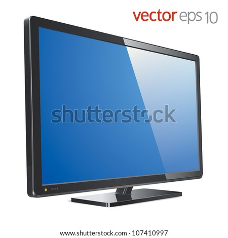 Monitor lcd, tv, realistic vector illustration - stock vector