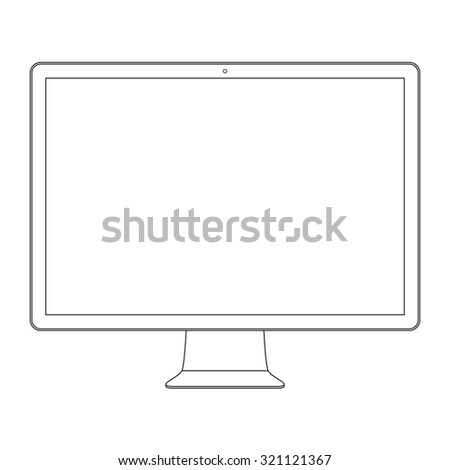 monitor outline icon symbol in imac style on the white background. stock vector illustration eps10 - stock vector