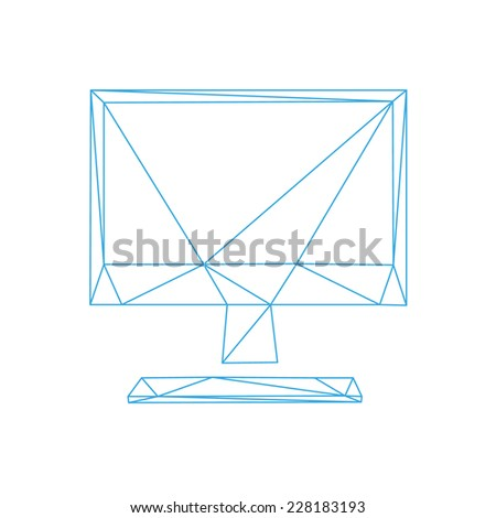 Monitor screen icon abstract isolated on a white backgrounds, vector illustration   - stock vector