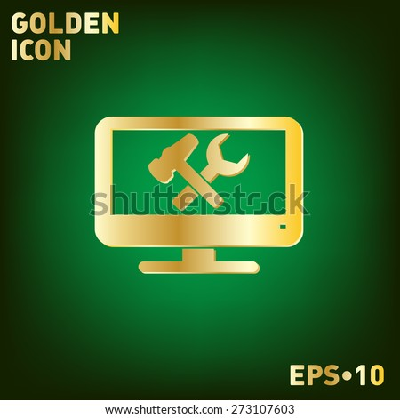monitor with symbol symbol settings. hammer and wrench, icon computer settings - stock vector