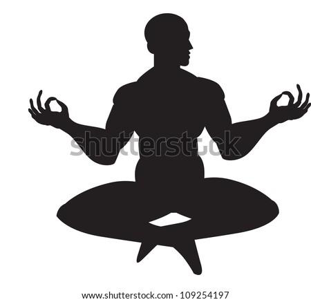 Monk in meditation, silhouette, vector illustration - stock vector