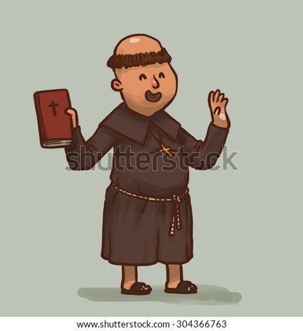 monk with a holy book, vector - stock vector