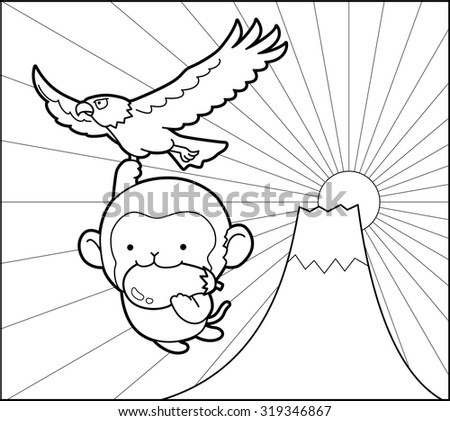 Monkey and The first is Mt.Fuji,the second is hawks,and the third is eggplants - stock vector