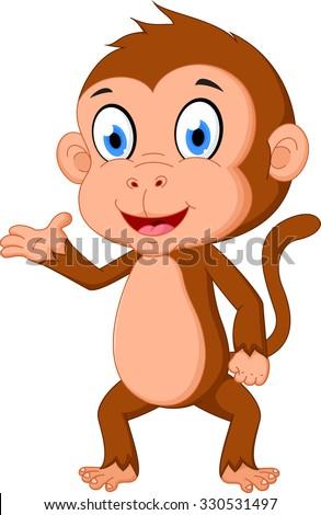 Monkey cartoon presenting  - stock vector