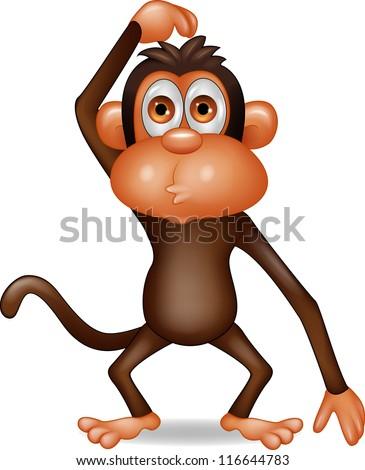 Monkey cartoon thinking - stock vector