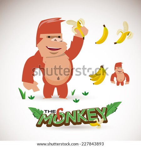 monkey character with banana. letters design - vector illustration - stock vector
