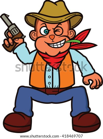 Monkey Cowboy with Gun Cartoon Illustration - stock vector