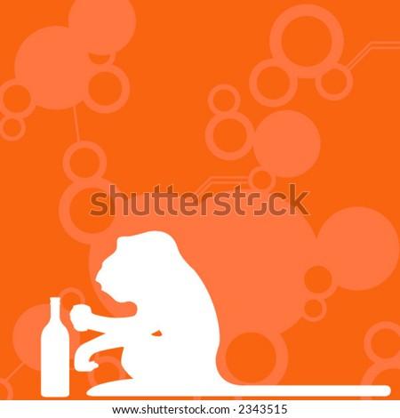 Monkey drinking - stock vector