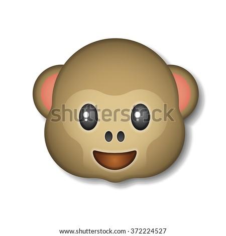 Monkey emoticon, icon, logo, symbol, vector illustration. - stock vector
