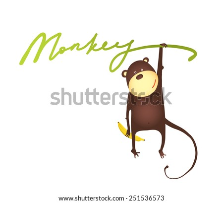 Monkey Hanging on Vine with Banana Lettering Cartoon. Playing amusing monkey hanging on sign. Vector illustration EPS10. - stock vector