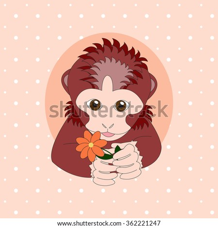 Monkey holding a orange flower. Print for cards, children's books, clothes - stock vector