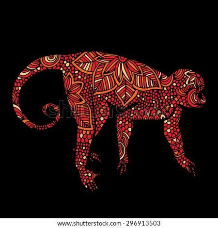 Monkey illustration- Chinese zodiac - stock vector