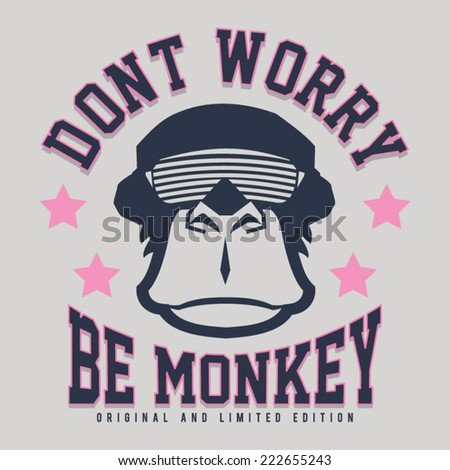 monkey illustration, typography, t- shirt graphic - stock vector