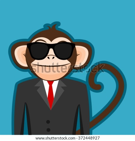 Monkey In Business Man Suit With Black Sunglasses Cartoon Vector - stock vector