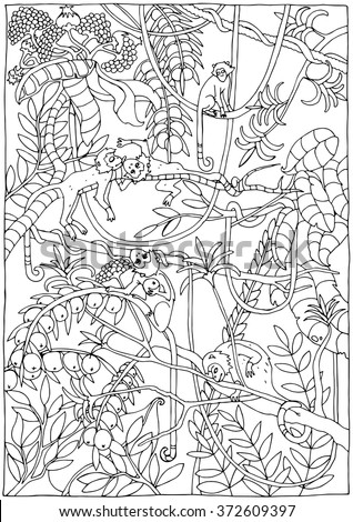 Monkey in the Jungle coloring page - stock vector