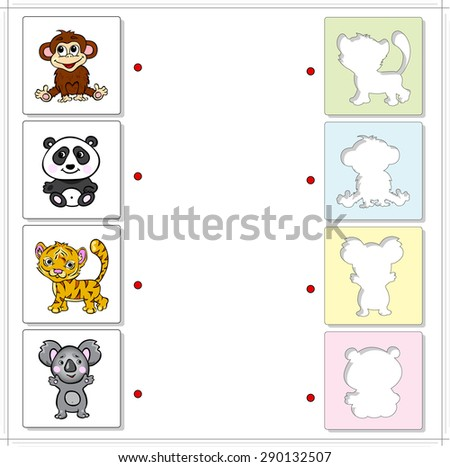 Monkey, panda, tiger and koala bear. Educational game for kids. Choose the correct silhouettes on the opposite side and connect the points - stock vector