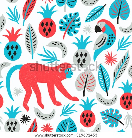 Monkey seamless pattern. Tropical background. Vector illustration. - stock vector