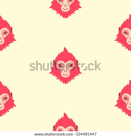 Monkey seamless vector pattern. Chinese zodiac symbol. Repeating monkey heads with fire looking hair. New Year of the fire or red monkey 2016 colorful background. - stock vector