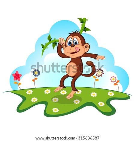 Monkey swinging on vines cartoon in a garden for your design - stock vector