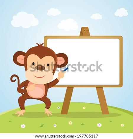 Monkey with board. Cute monkey on lesson, teaching or giving presentation. - stock vector