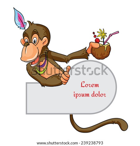 Monkey with coconut vector illustration on a white background with place for text - stock vector