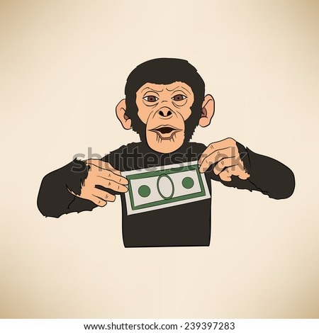 Monkey with dollar - stock vector