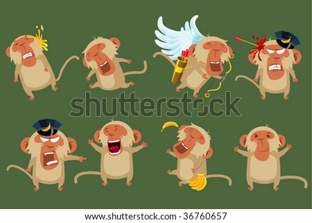 monkeys - stock vector