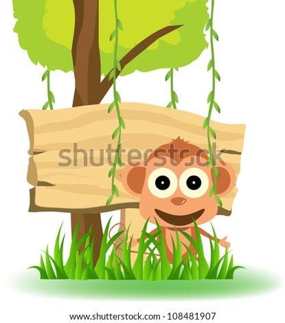 monkeys and a blank sign in the background of the forest - stock vector