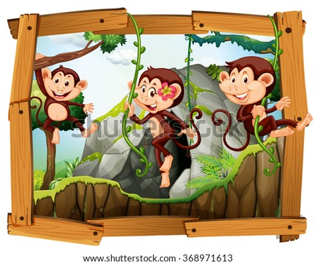 Monkeys and cave in the wooden frame illustration - stock vector
