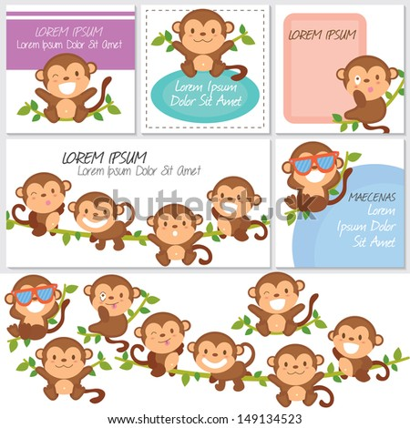 monkeys and friends digital set. - stock vector