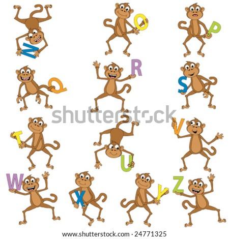 Monkeys holding the alphabet. - stock vector