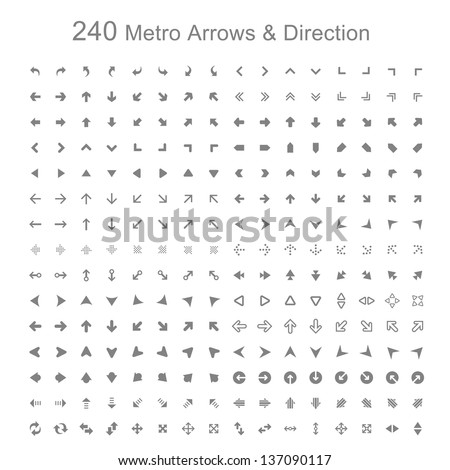 Mono color Metro arrows and direction vector illustration - stock vector