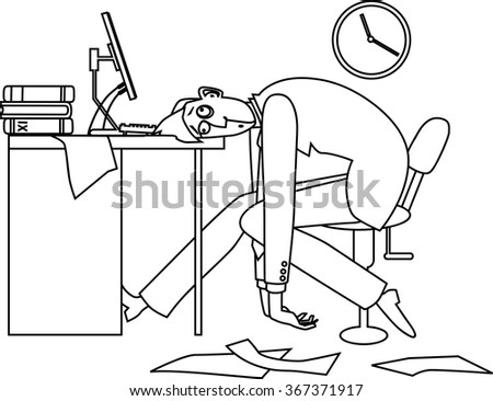 Mono-line vector illustration of an exhausted man, sitting at his desk in the office late at night, EPS 8 - stock vector