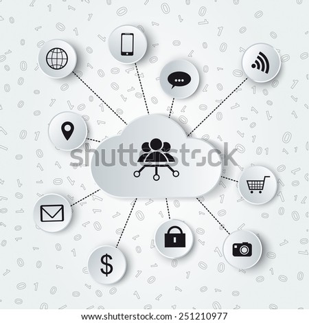 Monochromatic cloud computing and social media illustration. - stock vector