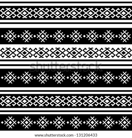 monochromatic ethnic seamless background. horizontal textures in black and white colors - stock vector