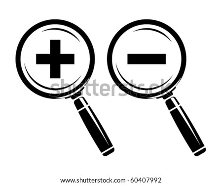 Monochromatic increase-decrease magnifiers icons - stock vector