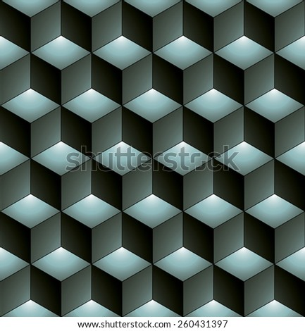 Monochrome abstract textured geometric seamless pattern with 3d geometric figures. Vector black and white textile backdrop. - stock vector