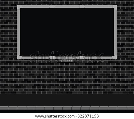 Monochrome advertising board on brick wall with black background, copy space for own text and graphics - stock vector
