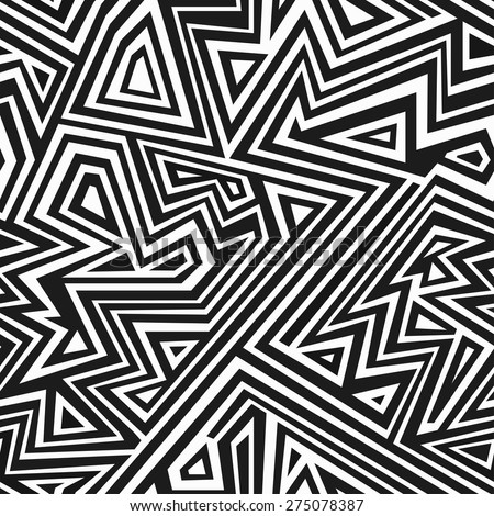 monochrome aztec seamless pattern  - stock vector