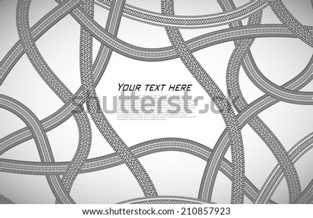 monochrome background from prints of wheels - stock vector