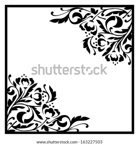 Monochrome background with floral elements - stock vector