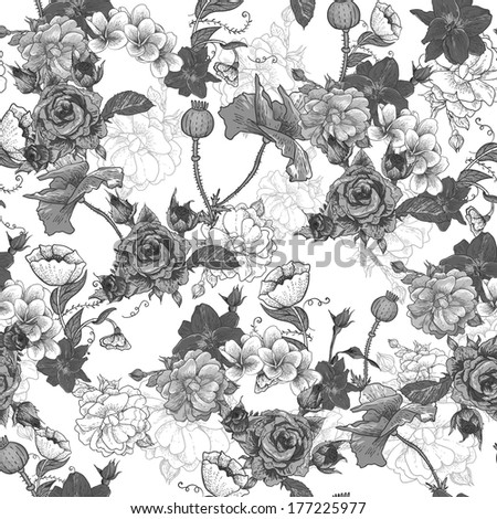 Monochrome Background with Flowers - stock vector