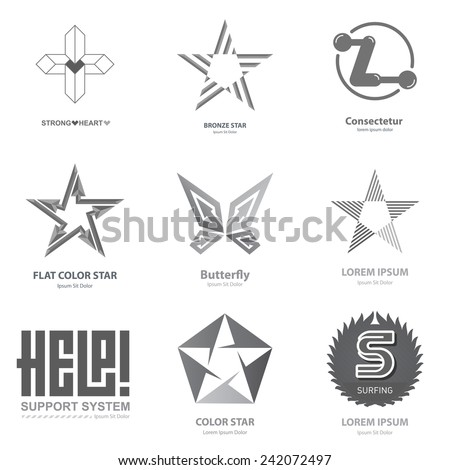 Monochrome Business Logo Collection with stars, cross, heart, letters and butterfly. Vector icons or design elements. - stock vector
